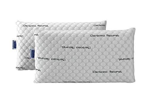 Todocama - Almohada viscoelástica Carbono con Copos 100% viscoelásticos. Tejido Strech de Carbono. Firmeza Media - Alta....